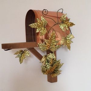 Wall Decor Hanging Wood Mailbox with Gold Leaves
